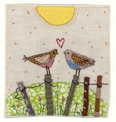 by Sharon Blackman bird heart applique embroidery Freehand Machine Embroidery, Free Motion Embroidery, Free Machine Embroidery, Free Motion Quilting, Embroidery Applique, Embroidery Stitches, Fabric Cards, Fabric Postcards, Vogel Quilt