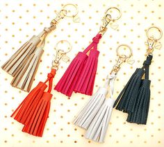 This double tassel key chain, key ring doubles your style and makes a  fun first apartment, birthday or housewarming gift.