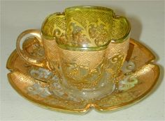 MOSER TYPE DEMI CUP & SAUCER W/HEAVY GOLD DECORATION