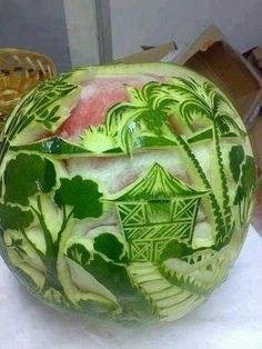 #fruit carving  Even fruit carvers dream of vacation.