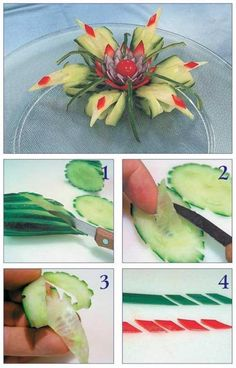 Cucumbers, floral food presentation idea, playing with food