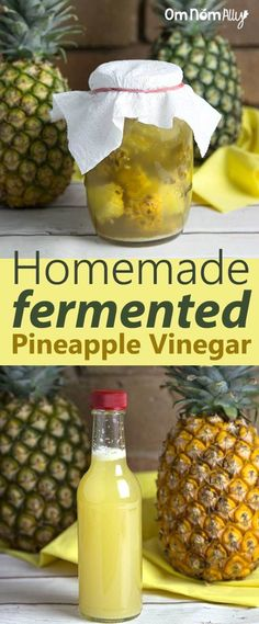 Homemade Fermented Pineapple Vinegar - One other recipe I found said to add raw ACV to get it started Probiotic Foods, Fermented Foods, Healthy Recipes, Real Food Recipes, Healthy Food, Fermentation Recipes, Roh Vegan, Homemade Pickles, Sauces