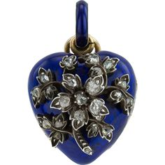 Charming Victorian Royal Blue Enamel and Diamond Heart Locket in 15ct Gold