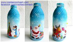 Cómo decorar de manera fácil botellas para navidad ~ cositasconmesh
