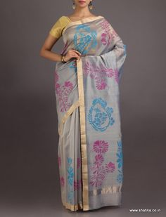 Hridaya Grey Is Colourful #ChanderiBlockPrintedSaree