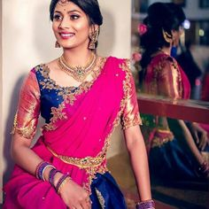 Exclusive Saree Blouse designs for every South Indian Bride!- Eventila - Exclusive Saree Blouse designs for every South Indian Bride! Wedding Saree Blouse Designs, Half Saree Designs, Silk Saree Blouse Designs, Lehenga Designs, Silk Sarees, Blouse For Silk Saree, Ethnic Sarees, Dress Designs, Indian Sarees