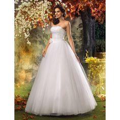 A-line Princess Strapless Sweep/Brush Train Tulle Wedding Dress