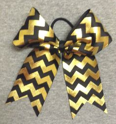 Black and Gold Foil Chevron Cheer / Softball / Volleyball Bow - Handmade #Handmade
