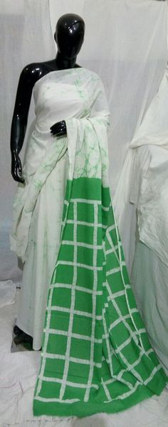 Cotton saree with blouse battick Print sarees