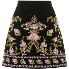 EMBROIDERED SKIRT (£50) ❤ liked on Polyvore featuring skirts, bottoms, summer skirts and embroidered skirt