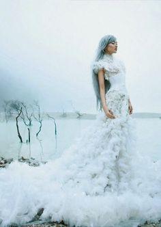 Fairytale fashion fantasy / karen cox.  ♔ Snow Queen in a somputous wedding gown | Just a Good Pic