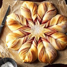 Christmas Star Twisted Bread Recipe -This gorgeous sweet bread swirled with jam may look tricky, but it's not. The best part is opening the oven to find this star-shaped beauty in all its glory. —Darlene Brenden, Salem, Oregon Christmas Star Holiday Bread, Christmas Bread, Christmas Cooking, Holiday Baking, Christmas Star, Christmas Breakfast, Green Christmas, Xmas Food, Christmas Brunch