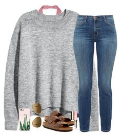 """"""""""" by southernstruttin ❤ liked on Polyvore featuring H&M, Current/Elliott, Birkenstock, Casetify, Clarins and Ray-Ban"""
