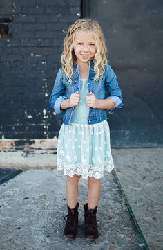 Sweet Little Peanut | Guess Kids. Love this fall look for little girls. Lace dress + denim jacket + boots