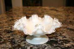 Fenton Milk Glass Silver Crest Doubled Ruffled by TresorsJeAmour