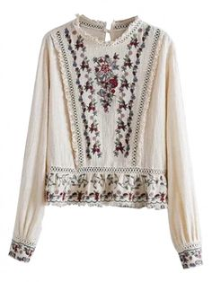 Beige Embroidery Floral Ruffle Hem Long Sleeve Blouse - Shirts / Blouses - Tops - Shop All Chic | WithChic