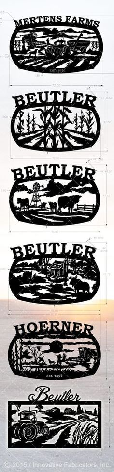 A compilation of some recent custom metal farm and ranch sign designs from Innovative Fabricators. Laser cut from 7 gauge and 10 gauge steel.