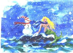 ACEO Snowman and Mermaid Christmas print Jim by jimsmeltzgallery