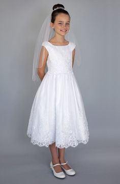 online shopping for Us Angels Embroidered Cap Sleeve Dress (Little Girls, Big Girls & Girls' Plus) from top store. See new offer for Us Angels Embroidered Cap Sleeve Dress (Little Girls, Big Girls & Girls' Plus) Girls First Communion Dresses, Holy Communion Dresses, Baptism Dress, Flower Girl Tutu, Flower Girl Dresses, Flower Girls, Little Girl Dresses, Girls Dresses, Pageant Dresses