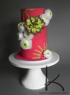 Wafer Paper Ranunculus Cake by Kara's Couture Cakes. Learn to make these beautiful ans easy wafer paper ranunculus on Kara's blog!
