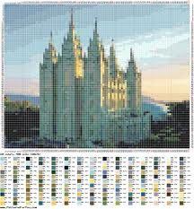 Salt Lake Temple (2) - pattern - cross stitch/ Templo de Salt Lake gráfico ponto cruz