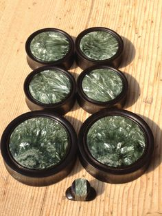 Seraphinite in Hardwood or Stone Plugs Made by EvolveBodyJewelry, $80.00