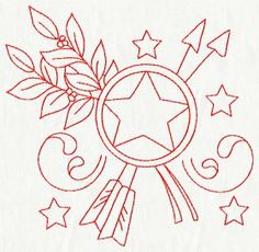 4th of July Redwork Embroidery Set - $9.45 : Fairyland Embroidery Designs