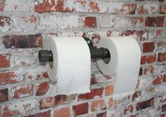 "DOUBLE TOILET ROLL Holder Industrial 3/4"" Pipe Upcycled  Heavy Duty  Bathroom / wc - Water Pipe Brackets Vintage"