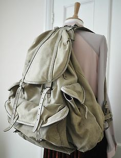6d8dd8ce0d1b Vtg 50s Norwegian canvas and leather large hiking rucksack backpack with  support Rucksack Backpack