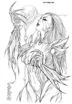 Witchblade (Cafaro), in Nicki Andrews's Inking work Comic Art Gallery Room Comic Book Artists, Comic Artist, Comic Books Art, Top Artists, Coloring Pages To Print, Coloring Book Pages, Coloring Sheets, Coloring Stuff, Dark Fantasy