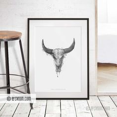 Do It Yourself Furniture, Bull Horns, Skull Print, Long Horn, Cattle, Contemporary Art, Moose Art, Wall Decor, Art Prints