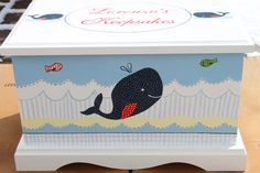 Nautical Whale Keepsake chest baby memory box personalized  by staciedale on Etsy, $265.00