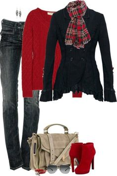 Red sweater, jeans, black long jacket, scarf and red high heel shoes for fall…