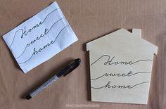 """tutorial diy Segnaporta Casetta di legno con frase """"Home sweet home"""" passo 3"""