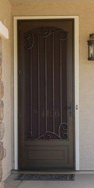 The security door that resulted from the search started for this board. Door Design, Security Door, Security Screen Door, Front Door With Screen, Entry Doors, Iron Security Doors, Gate Design, Screen Door, Doors