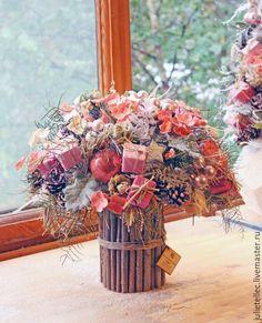 Купить Зимний букет Joyeux Noel - розовый, новогодняя композиция, зимний букет, Новый Год