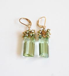 Mother's Day Jewelry -Green Amethyst Quartz And Mystic Green Pyrite Cluster Dangle Drop Earrings -Green Earrings- Mother's Day Earrings. found at www.rubylane.com @rubylanecom