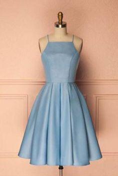 Elegant Straps Light Blue Satin Bodice Short Prom Homecoming Dresses Cocktail Dress LD452