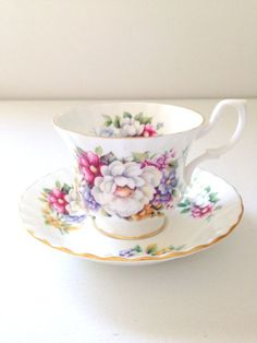 Vintage English Bone China Royal Albert Tea Cup and Saucer Summertime Series Sherborne Tea Party Cottage Style Replacement China 1978 Teapots And Cups, China Tea Cups, China Painting, Royal Albert, Tea Cup Saucer, Cottage Style, Bone China, Tea Party, Antiques