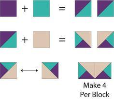 Easy Album Quilt Block Pattern Two-Toned Star Tips Give Aunt Addie's Album Quilt Blocks a Unique Look: Quarter Square Triangle Units for Aunt Addie's Blocks Beginner Quilt Patterns, Star Quilt Patterns, Quilting For Beginners, Quilting Tutorials, Pattern Blocks, Quilting Projects, Half Square Triangle Quilts Pattern, Square Quilt, Paper Piecing