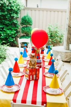 "Circus Party Table from ""The Greatest Showman"" Circus Birthday Party on Kara's Party Ideas"