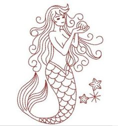 mermaid embroidery | Vintage Mermaid & Sea Creatures Embroidery ...