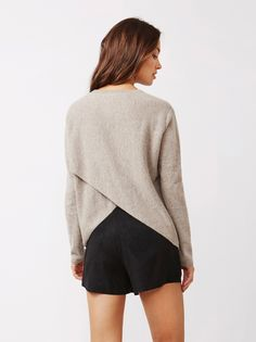 Soft Goat Women's Crossed Back Sweater Taupe