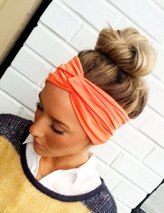 Coral Turban Headband Stretch Jersey Twist Headband - Turban Wide Hippie Boho Headband head bands Hair Coverings (HBT-04). $24.50, via Etsy.