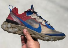 Check out these new colorways that were just added to the Undercover x Nike React Element 87 Collection. Jeans And Sneakers, Best Sneakers, Sneakers Nike, Baskets, Sneakers Fashion Outfits, Nike Shoes Outlet, New Shoes, Jordans, Nike Tennis