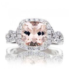Morganite ring cushion 8x8 diamond halo engagement ring twistshank