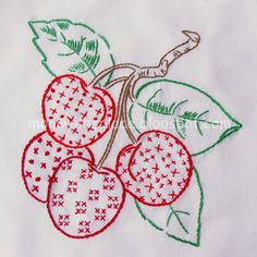 Embroidery- Redwork cherries