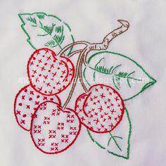 Embroidery- Redwork cherries