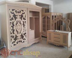 Cnc Kesim Ahşap Dekoratif Yatak Odası Dolap | Cnc Cut Wooden Decorative Bedroom Cabinet