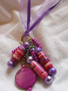 PAPER PEARLS JEWELRY - NEW PRODUCTS  Ribbon pendant necklace.  $9.00 Handcrafted paper beads accented with glass beads.
